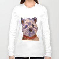 westie Long Sleeve T-shirts featuring West highland terrier Westie dog love by Gooberella