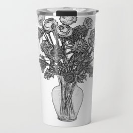 Spring Flowers in Vase on Burnished Orange Background Travel Mug