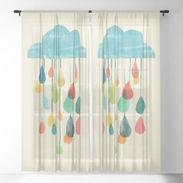 cloudy with a chance of rainbow Sheer Curtain