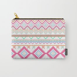 Pink teal Aztec Tribal Diamond geometric Pattern Carry-All Pouch