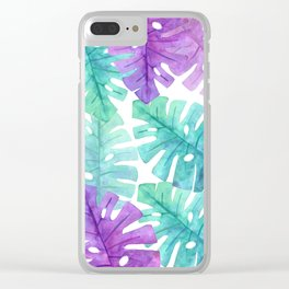 Turquoise Purple Monstera Leaves Clear iPhone Case