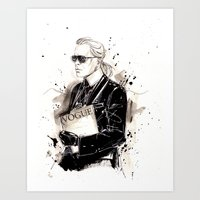 karl lagerfeld Art Prints featuring Karl  by Sasha Spring Illustration
