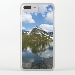 Panorama mountain landscape lake, mountains and clouds in blue sky on sunny day Clear iPhone Case