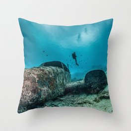 shipwreck and diver Throw Pillow