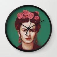 frida Wall Clocks featuring Frida by ravynka