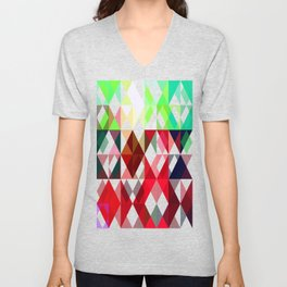 Mixed color Poinsettias 3 Abstract Triangles 1 Unisex V-Neck