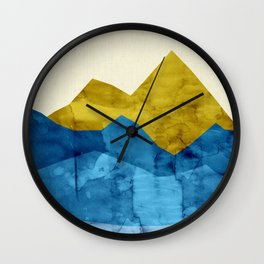 Landscape watercolor collage Wall Clock