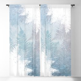 Fern Snowflakes - Taupe, Aqua & Blues Blackout Curtain