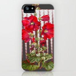 MODERN ART RED HOLLYHOCKS BOTANICAL iPhone Case