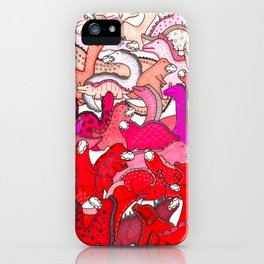 Red Dinosaur Gradient iPhone Case