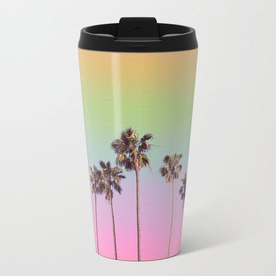 palm trees rainbow vintage Metal Travel Mug