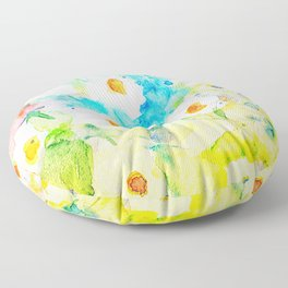 Watercolor Colorful Summer Meadow Floor Pillow