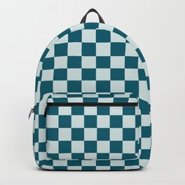 Pale Blue and Tropical Dark Teal Small Checker Board Pattern Inspired by Sherwin Williams 2020 Trending Color Oceanside SW6496 Backpack