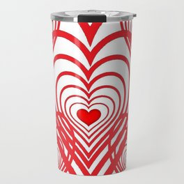 0PTICAL ART RED VALENTINES HEARTS IN HEARTS DESIGN Travel Mug