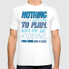 No Plan White Mens Fitted Tee MEDIUM