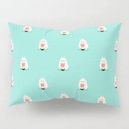 Fat bunny eating noodles pattern Pillow Sham