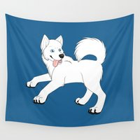 husky Wall Tapestries featuring Husky (White) by Leslie Pierrot