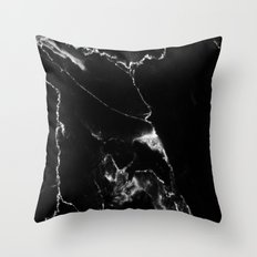 Black Marble I Throw Pillow