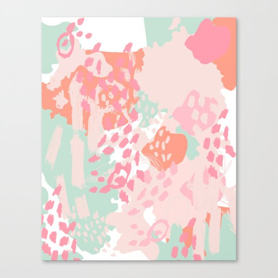 Billie - abstract gender neutral trendy painting soft colors bright happy nursery baby art Canvas Print