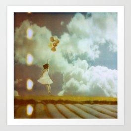 girl with balloons Art Print