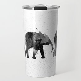 Elephants 2, black and white Travel Mug