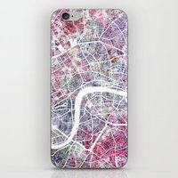 london map iPhone & iPod Skins featuring London map by MapMapMaps.Watercolors