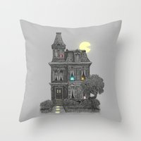 man Throw Pillows featuring Haunted by the 80's by Terry Fan