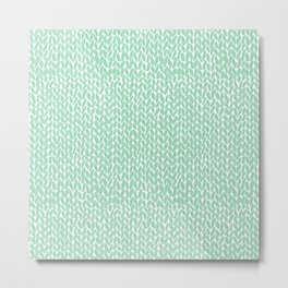Hand Knit Mint Metal Print