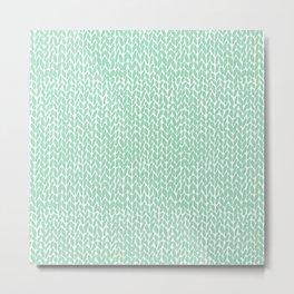 Hand Knit Mint Metal Print