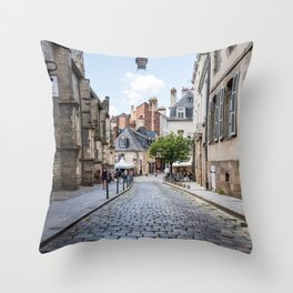 Cobblestoned street in historic centre of Rennes, France Throw Pillow