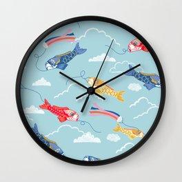 Koi carp kite day Japanese print pattern Wall Clock