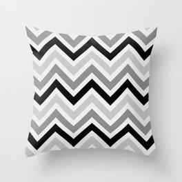 Chevron Stripes : Black Gray White Throw Pillow