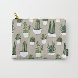Watercolour cacti & succulents - Beige Carry-All Pouch