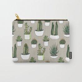 Watercolour cacti & succulents - Beige Carry-All Pouch