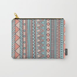 Tribal #4 (Coral/Aqua) Carry-All Pouch