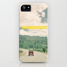 NEVER STOP EXPLORING - vintage volkswagen van iPhone (5, 5s) Slim Case