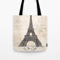 eiffel tower Tote Bags featuring Eiffel Tower by Debbie DeWitt