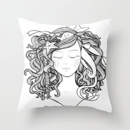 Mermaid Fish Darling Throw Pillow