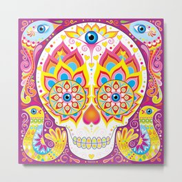 Sugar Skull (Illumina) Metal Print