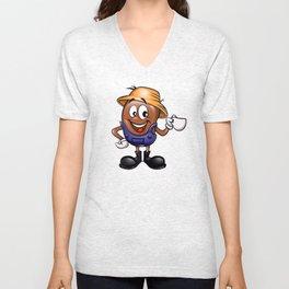 Farmer coffee bean cartoon  Unisex V-Neck