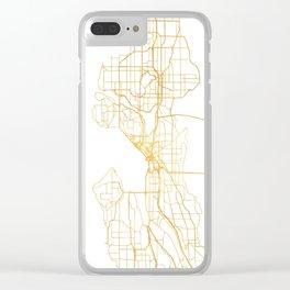 SEATTLE WASHINGTON CITY STREET MAP ART Clear iPhone Case