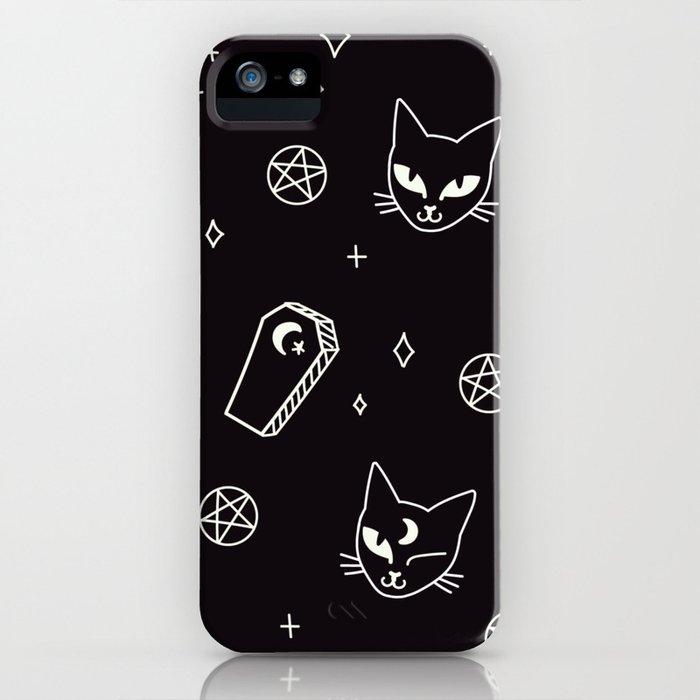 Cute Goth Kitties & Coffins iPhone Case