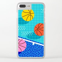 All Day - basketball sports memphis retro throwback neon trendy colors athletic art design Clear iPhone Case