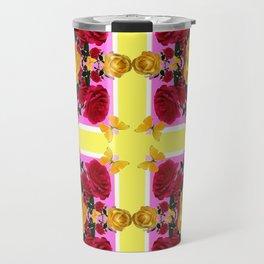 RED-YELLOW ROSES & YELLOW BUTTERFLIES ART Travel Mug