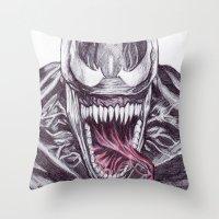 venom Throw Pillows featuring Venom by DeMoose_Art
