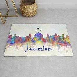 Watercolor Jerusalem City Skyline Rug