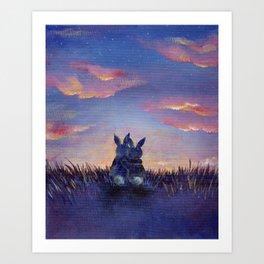 Snuggle Bunnies at Sunset Art Print