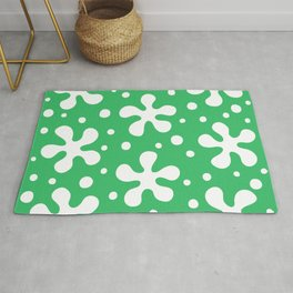 Pretty Mid Century Modern Floral Pattern 323 Green Rug