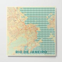 Rio de Janerio Map Retro Metal Print