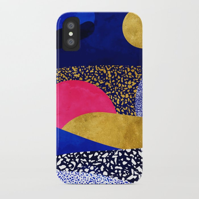 Terrazzo galaxy blue night yellow gold pink iPhone Case